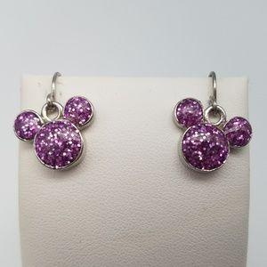 Disney Purple Sparkly Mickey Dangle Earrings
